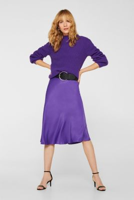 Flared midi skirt in satin, PURPLE, detail