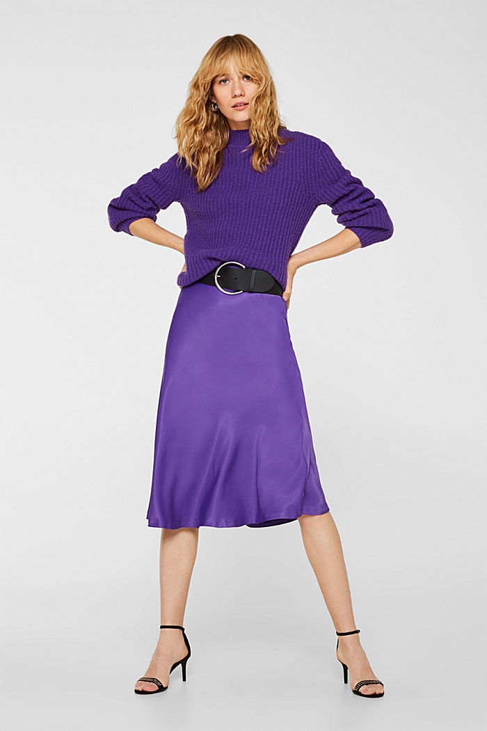 Flared midi skirt in satin, PURPLE, detail image number 1