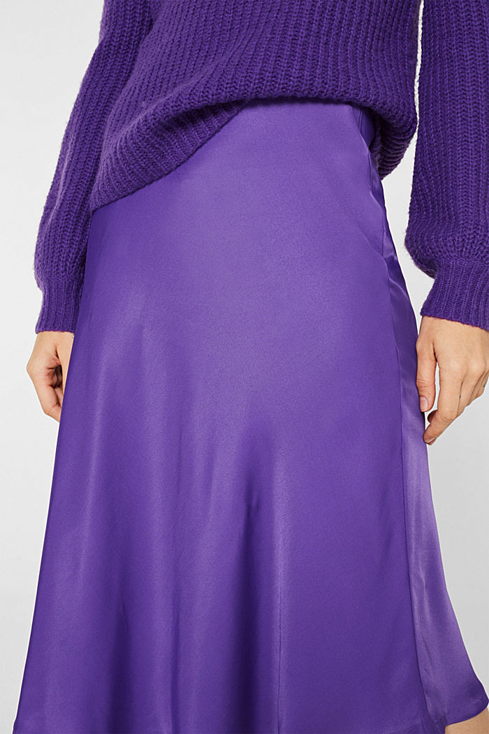 Flared midi skirt in satin, PURPLE, detail image number 2
