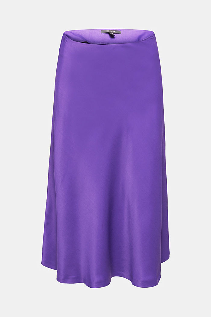Flared midi skirt in satin, PURPLE, detail image number 6