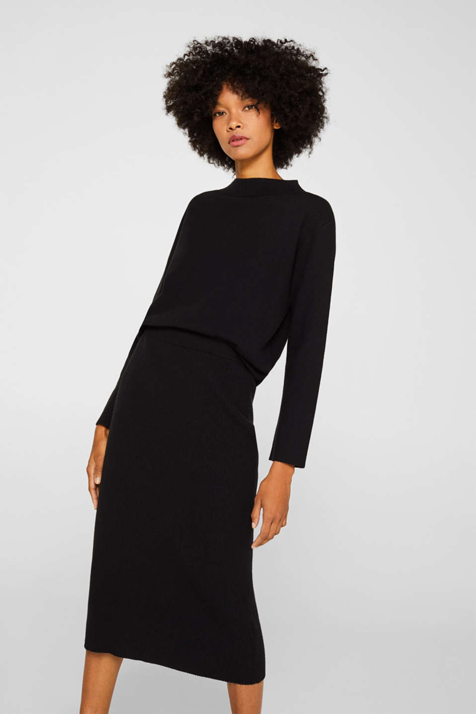Esprit - Knit skirt with ribbed texture