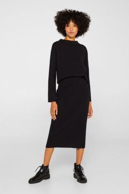 Knit skirt with ribbed texture, BLACK, detail