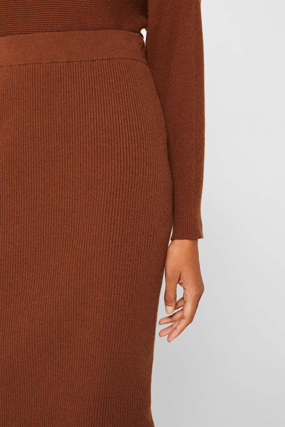 Knit skirt with ribbed texture, TOFFEE, detail image number 2