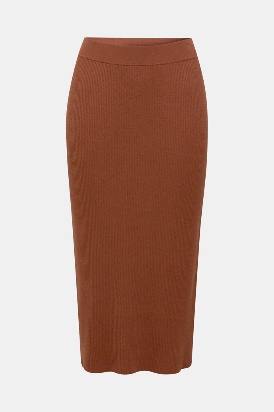 Knit skirt with ribbed texture, TOFFEE, detail image number 6
