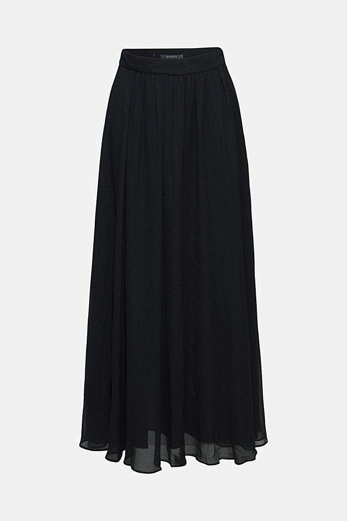 Maxi-nederdel af chiffon, BLACK, detail image number 0