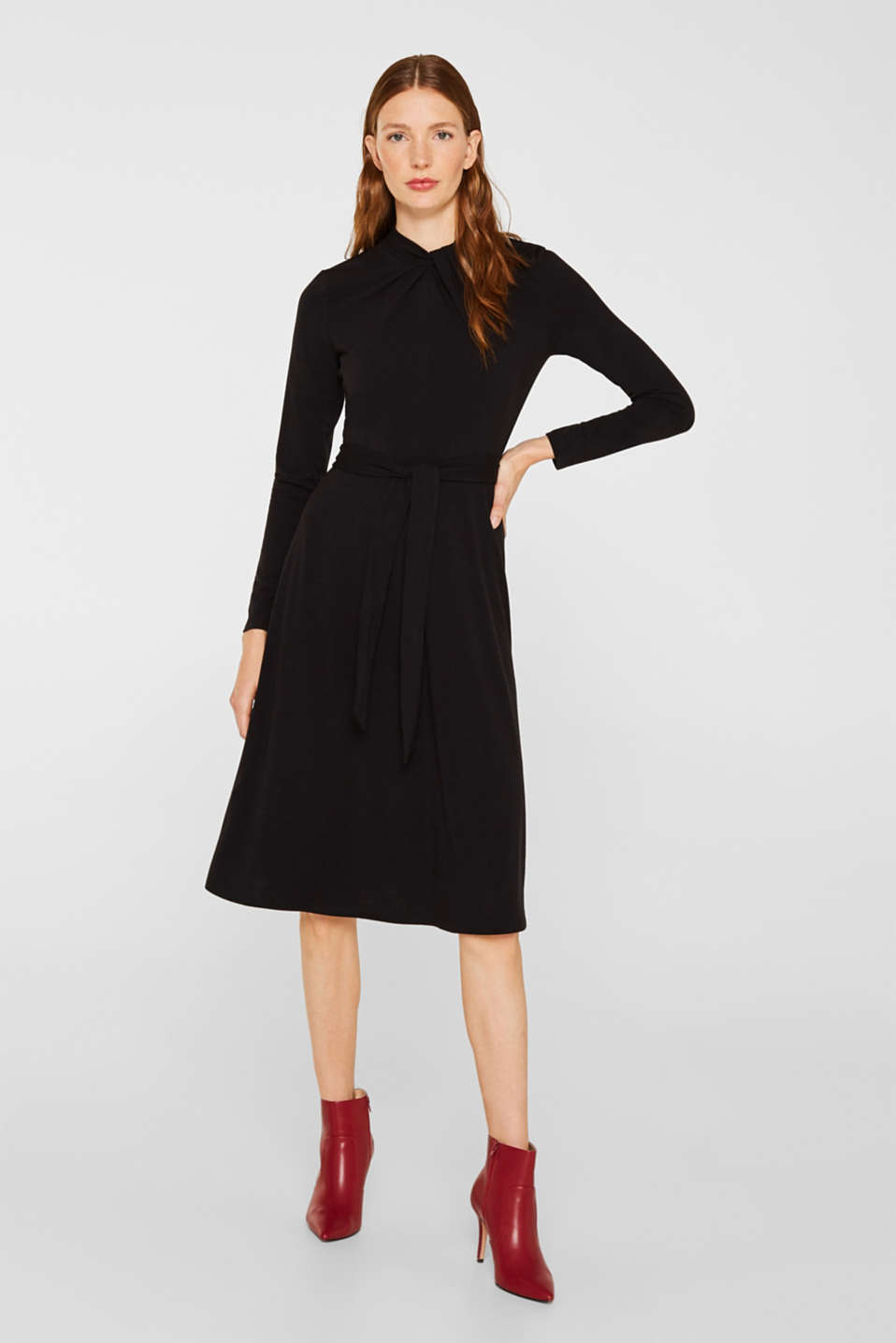 Stretch jersey dress with a draped collar, BLACK, detail image number 0