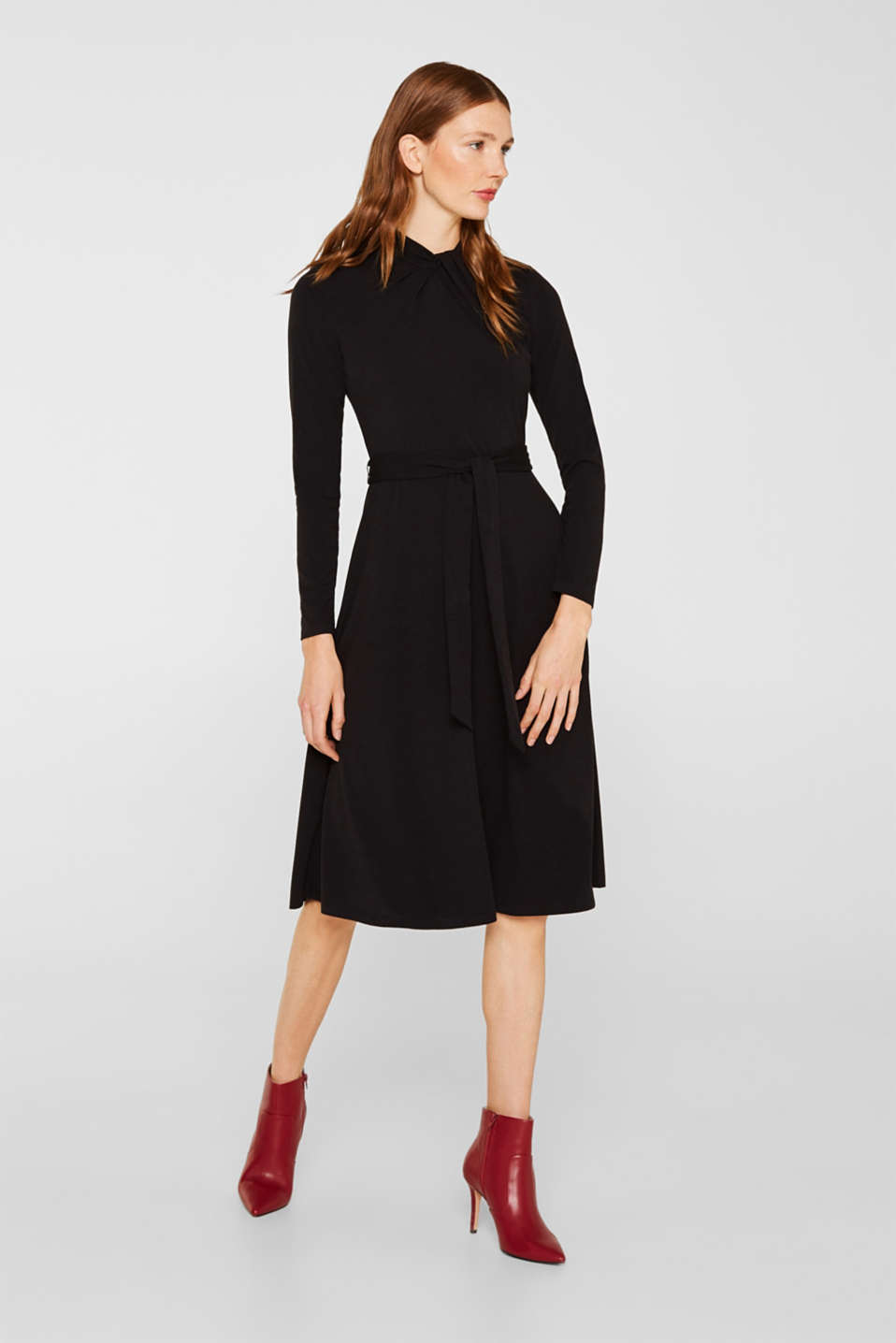 Stretch jersey dress with a draped collar, BLACK, detail image number 1