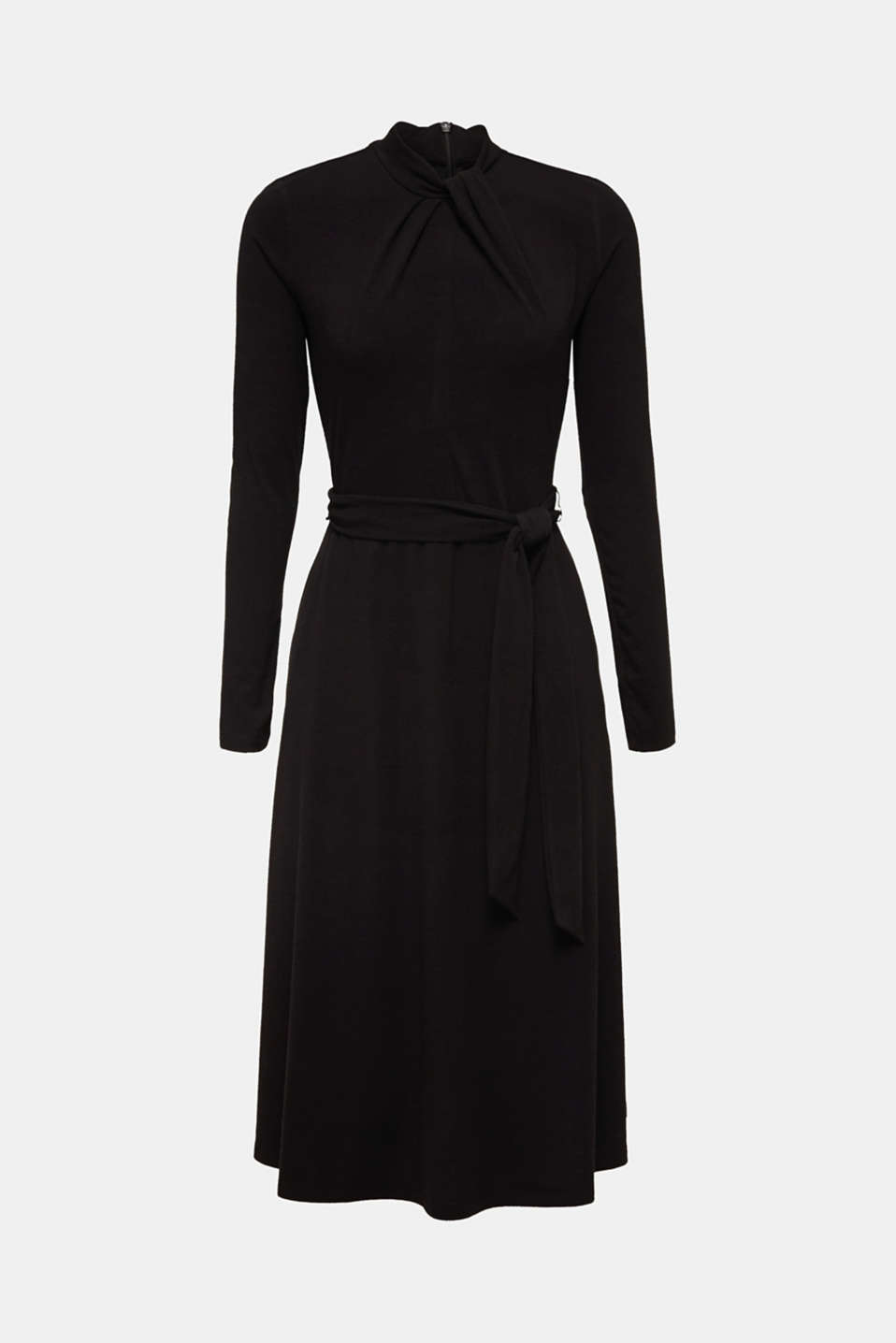 Stretch jersey dress with a draped collar, BLACK, detail image number 7