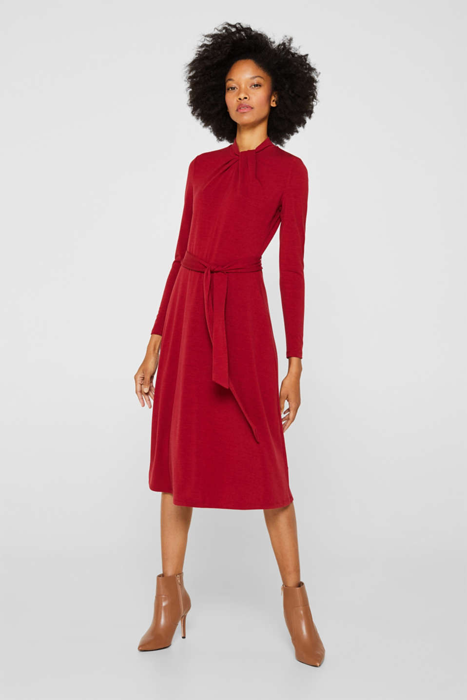 Esprit - Stretch jersey dress with a draped collar