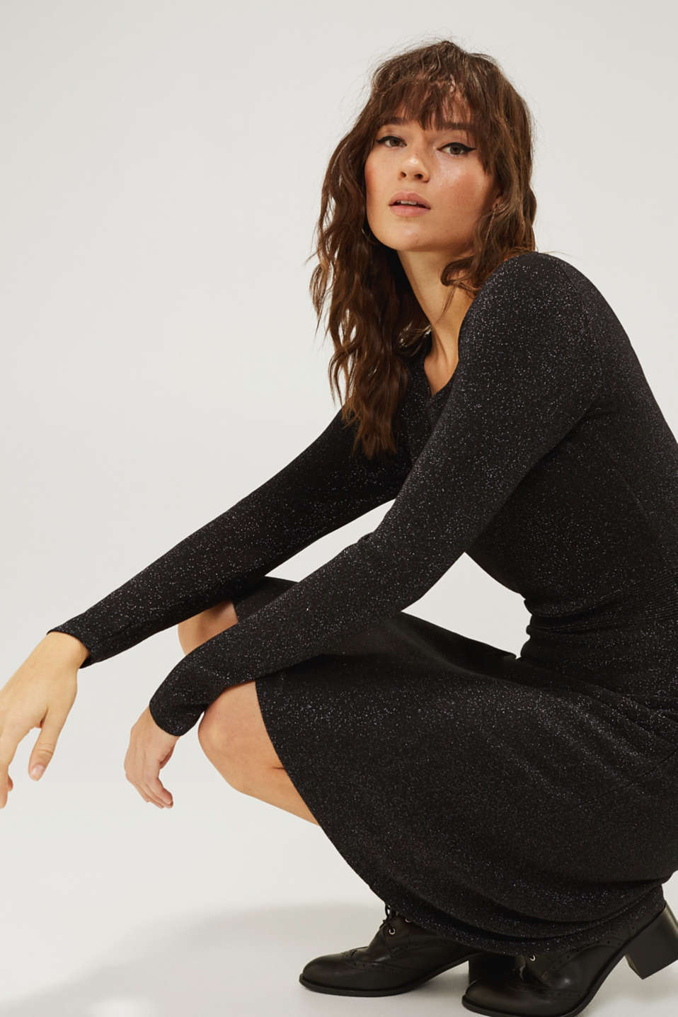 Glitter knit dress with LENZING™ ECOVERO, BLACK, detail image number 5