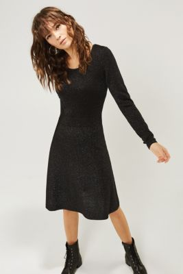 Glitter knit dress with LENZING™ ECOVERO, BLACK, detail