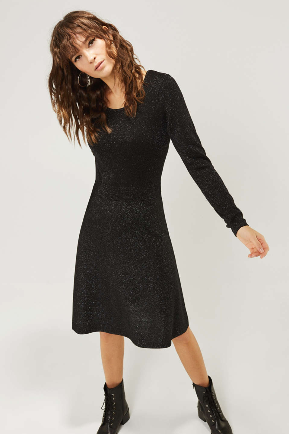 Glitter knit dress with LENZING™ ECOVERO, BLACK, detail image number 1
