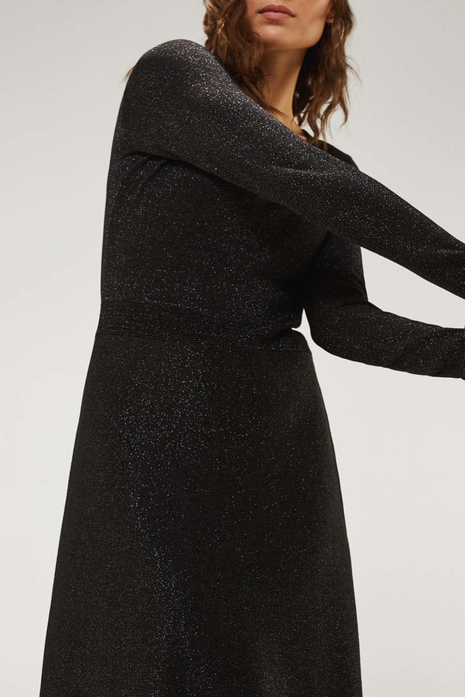 Glitter knit dress with LENZING™ ECOVERO, BLACK, detail image number 3