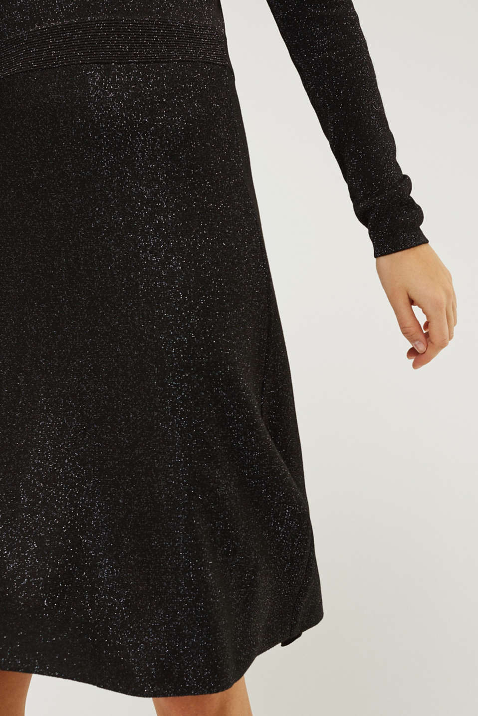 Glitter knit dress with LENZING™ ECOVERO, BLACK, detail image number 6