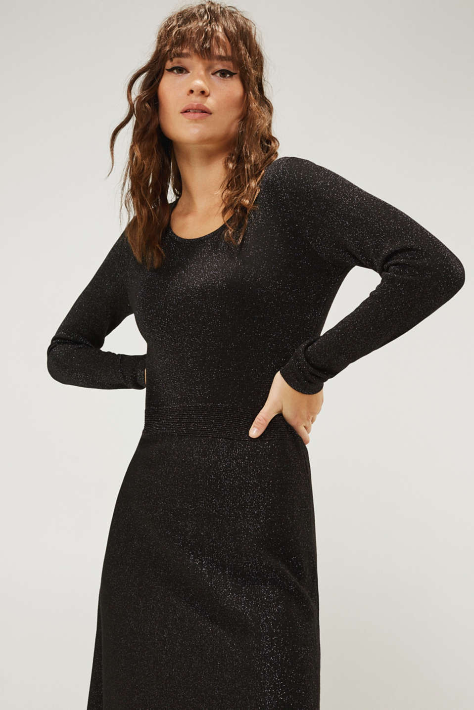 Glitter knit dress with LENZING™ ECOVERO, BLACK, detail image number 7