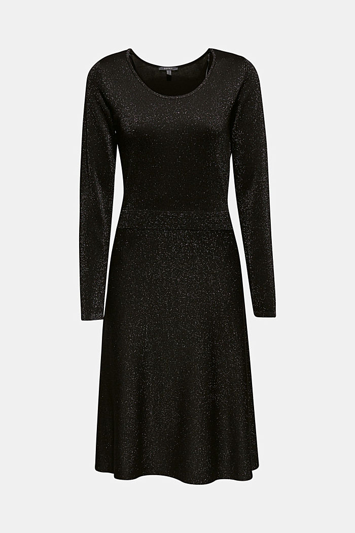 Glitter knit dress with LENZING™ ECOVERO, BLACK, detail image number 0