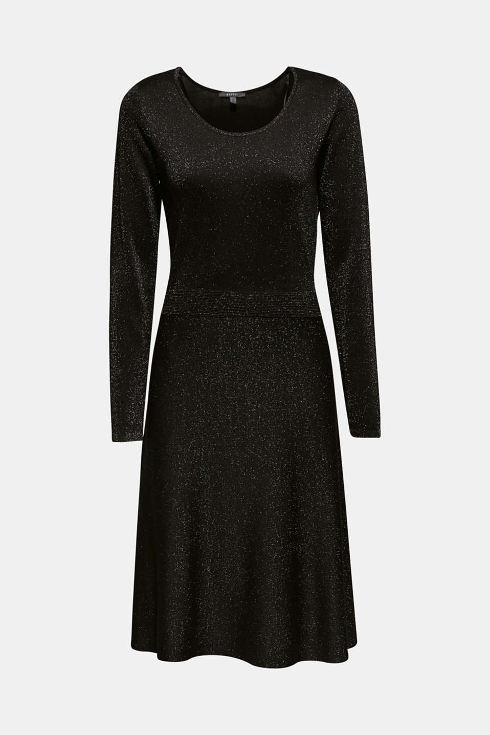 Glitter knit dress with LENZING™ ECOVERO, BLACK, detail image number 8