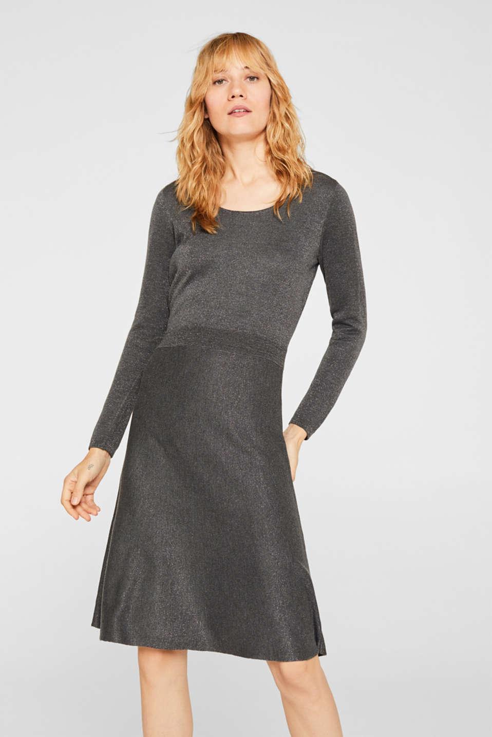 Glitter knit dress with LENZING™ ECOVERO, GUNMETAL 5, detail image number 0