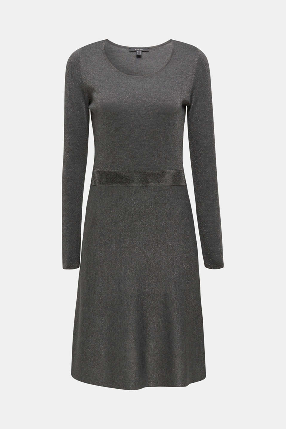 Glitter knit dress with LENZING™ ECOVERO, GUNMETAL 5, detail image number 5