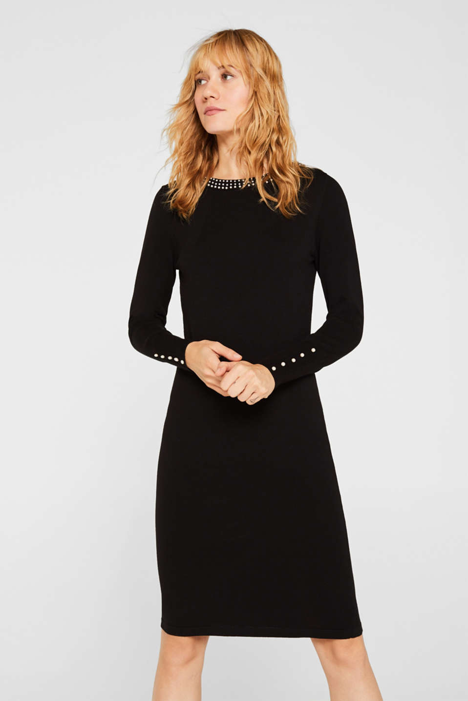 Knit dress with bead embellishments, BLACK, detail image number 0