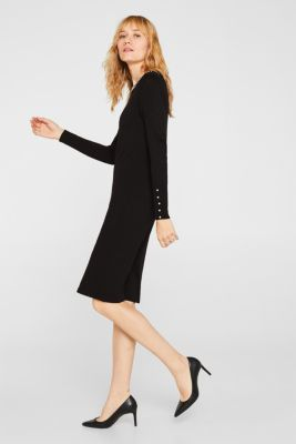 Knit dress with bead embellishments, BLACK, detail
