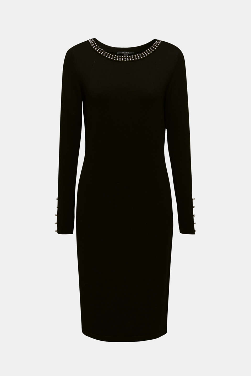 Knit dress with bead embellishments, BLACK, detail image number 5