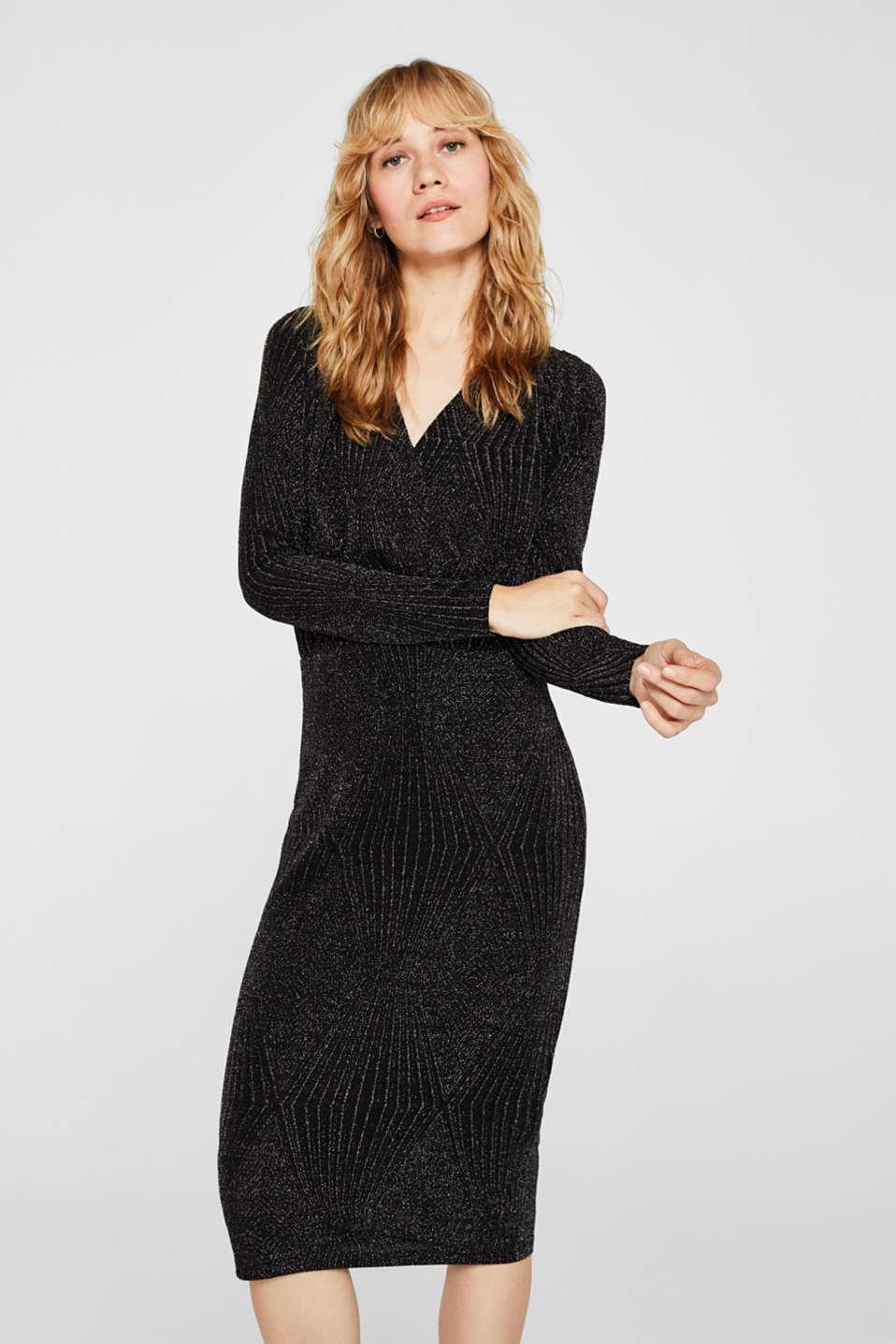 Glittering jersey dress, BLACK, detail image number 0