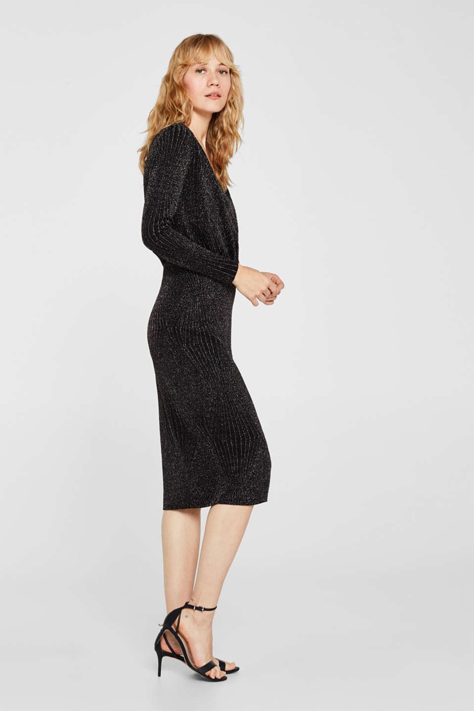 Glittering jersey dress, BLACK, detail image number 4