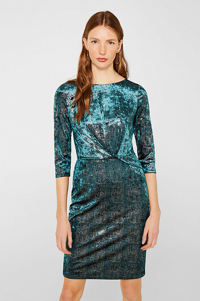 Stretch dress made of velvet with interwoven gold threads, DARK TEAL GREEN, detail image number 0