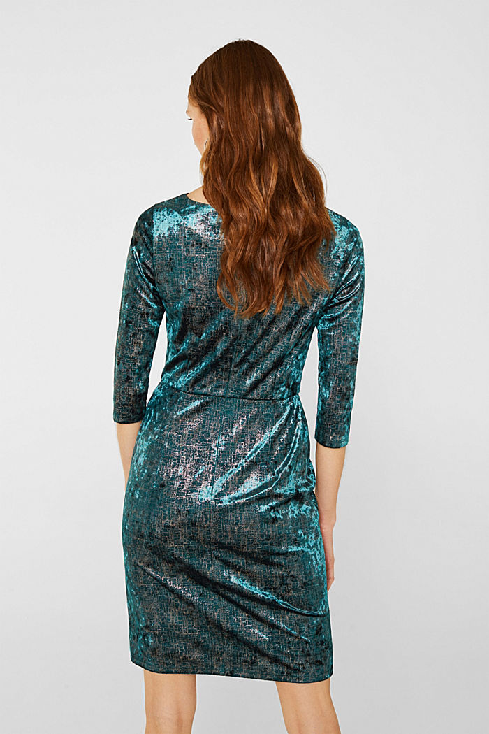 Stretch dress made of velvet with interwoven gold threads, DARK TEAL GREEN, detail image number 2