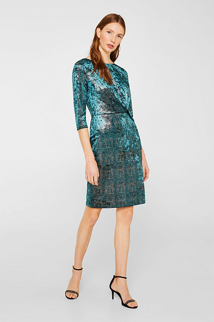 Stretch dress made of velvet with interwoven gold threads, DARK TEAL GREEN, detail image number 1