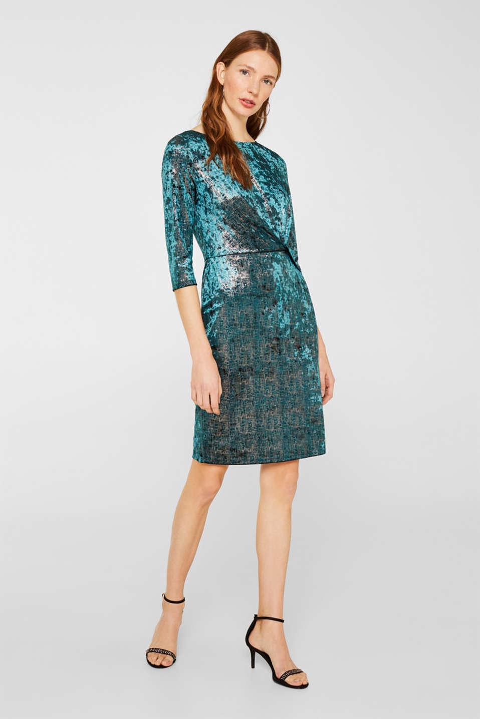 Dresses knitted, DARK TEAL GREEN, detail image number 1