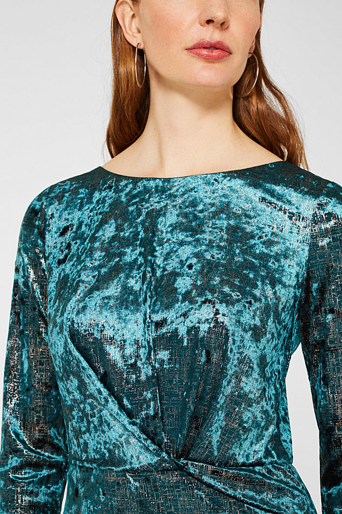 Stretch dress made of velvet with interwoven gold threads, DARK TEAL GREEN, detail image number 3