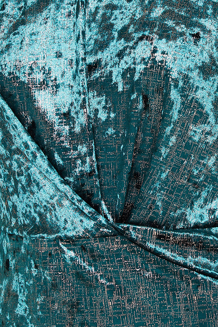 Stretch dress made of velvet with interwoven gold threads, DARK TEAL GREEN, detail image number 4