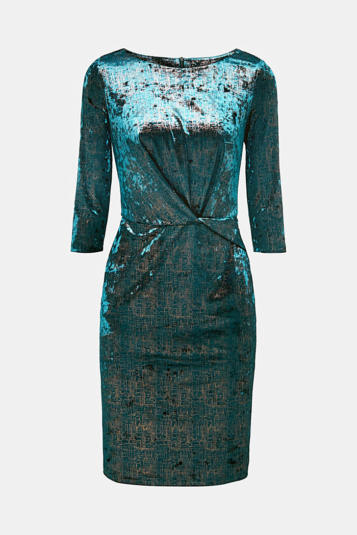 Stretch dress made of velvet with interwoven gold threads, DARK TEAL GREEN, detail image number 6