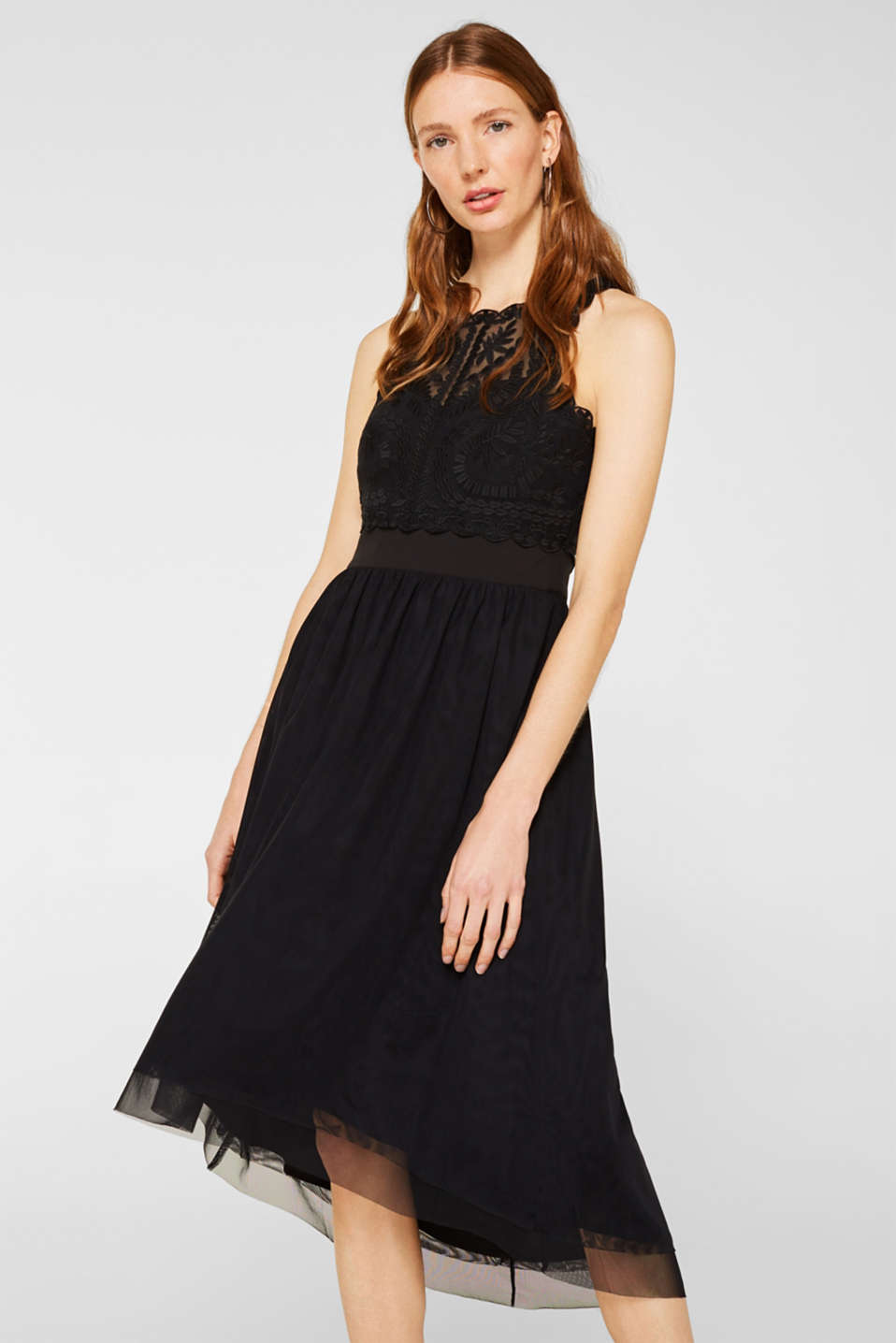 Midi dress made of tulle and lace, BLACK, detail image number 0
