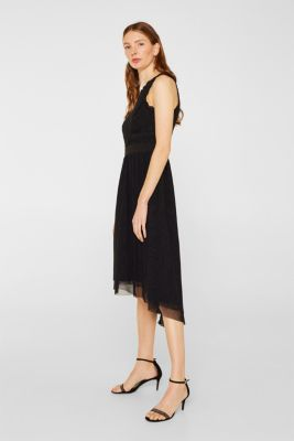 Midi dress made of tulle and lace, BLACK, detail