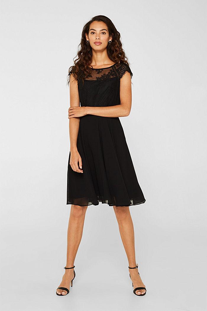 ESPRIT - Kleid aus Chiffon und Spitze in unserem Online Shop