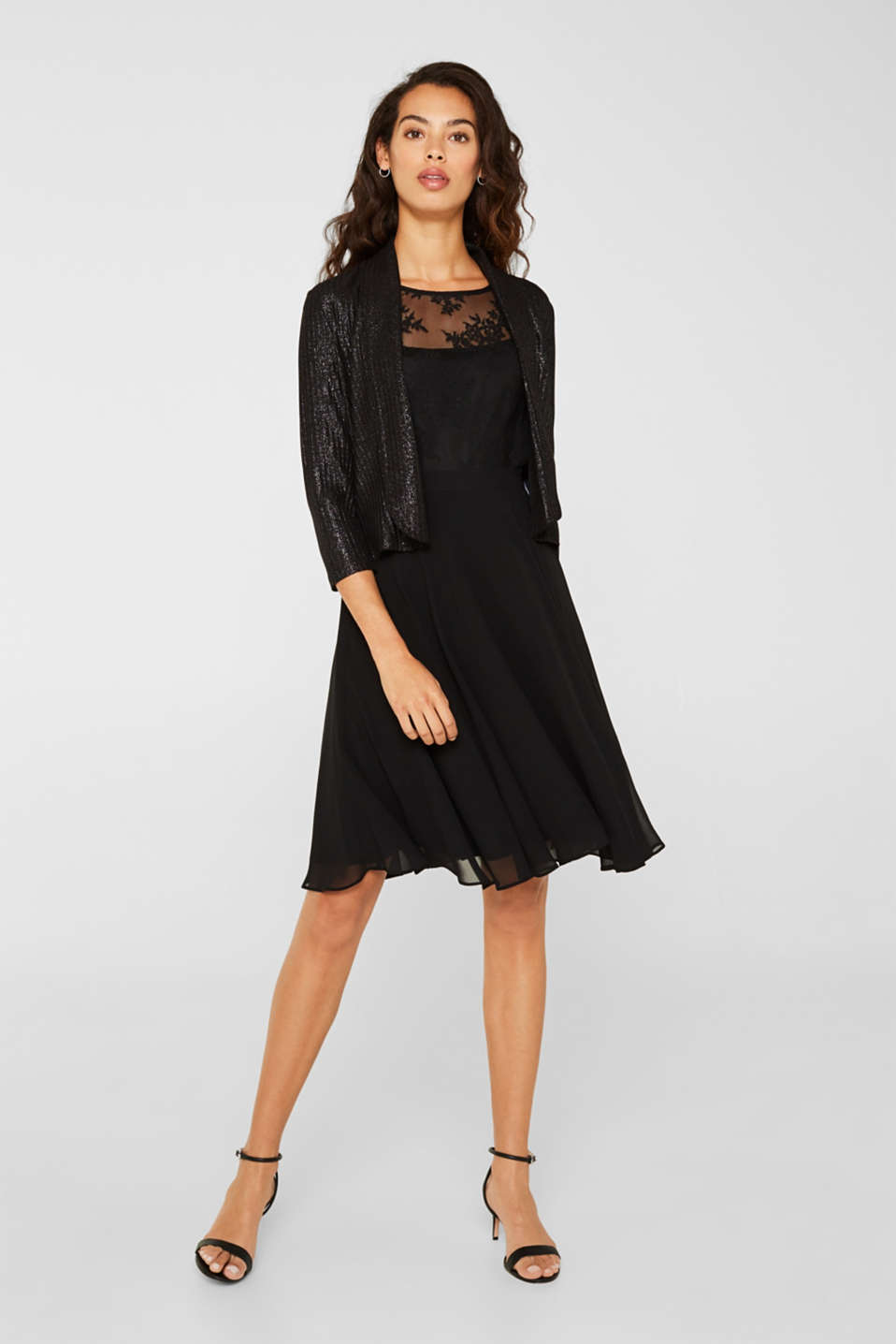 Dress in chiffon and lace, BLACK, detail image number 1