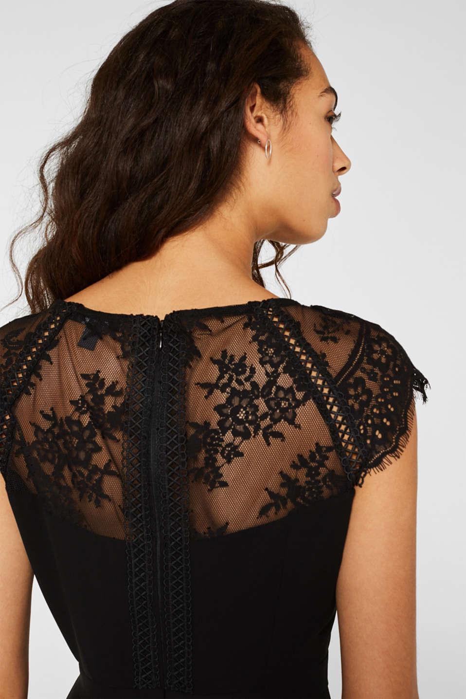 Dress in chiffon and lace, BLACK, detail image number 3