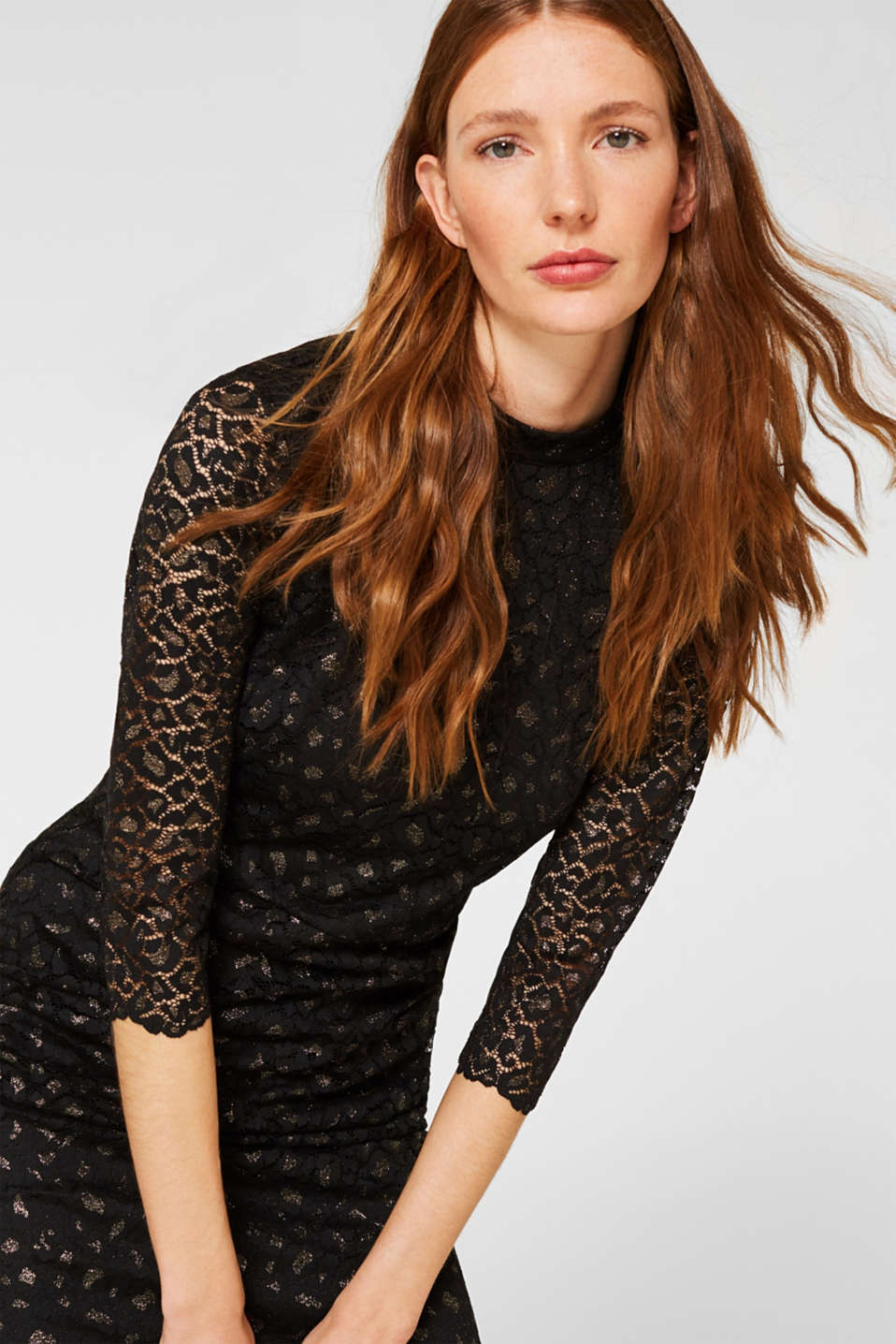 Lace dress in a glittering leopard look, BLACK, detail image number 0