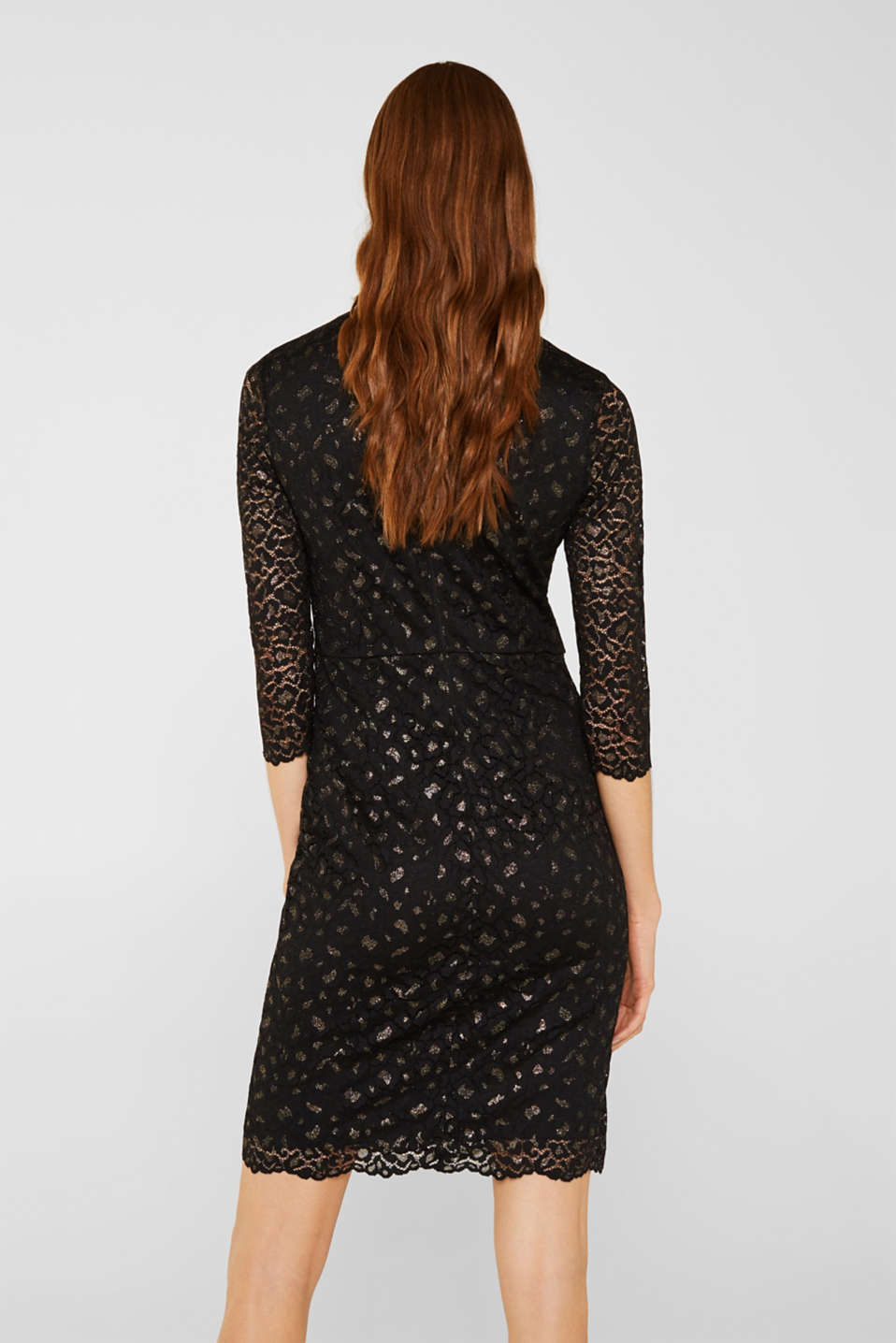Lace dress in a glittering leopard look, BLACK, detail image number 2