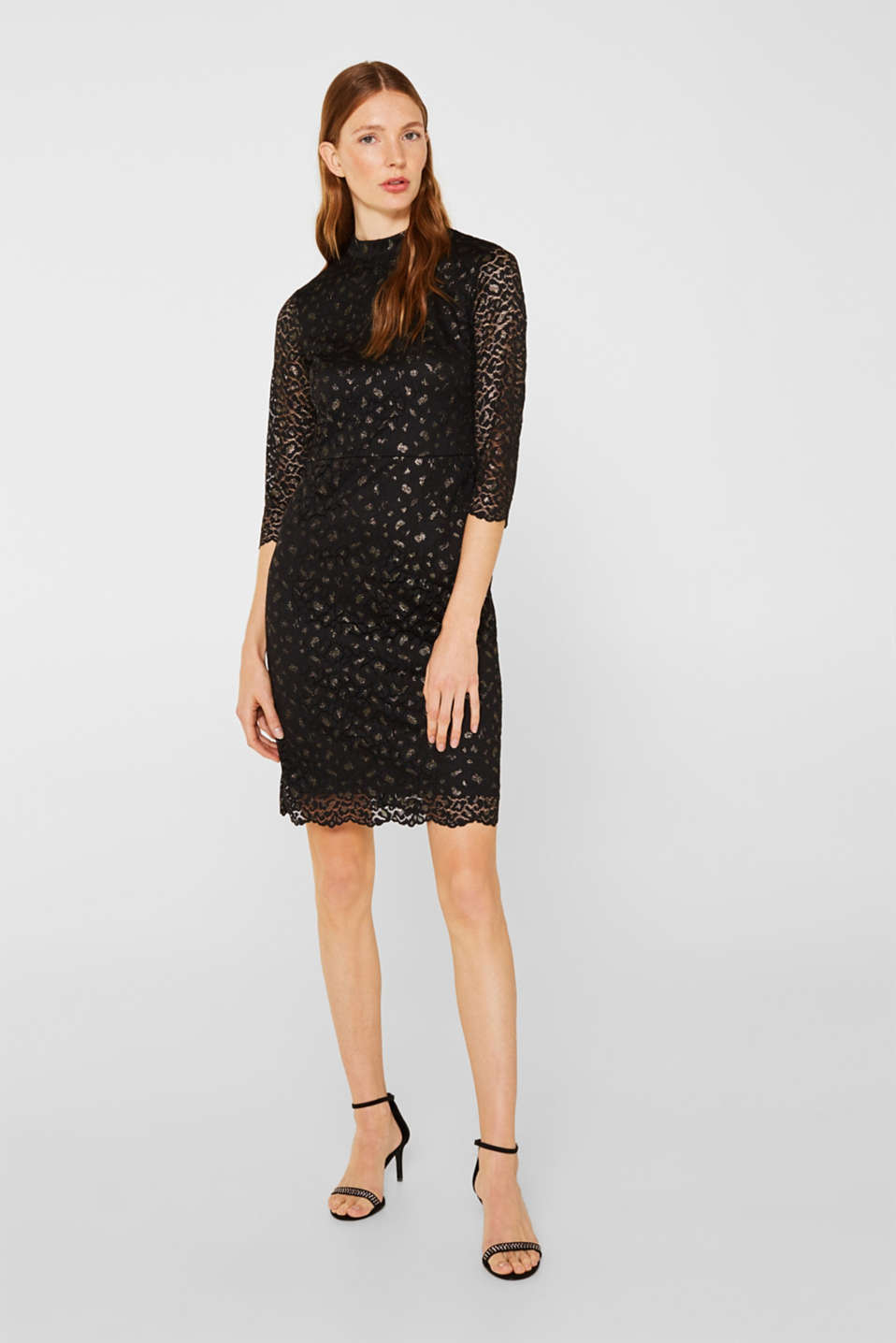 Lace dress in a glittering leopard look, BLACK, detail image number 1