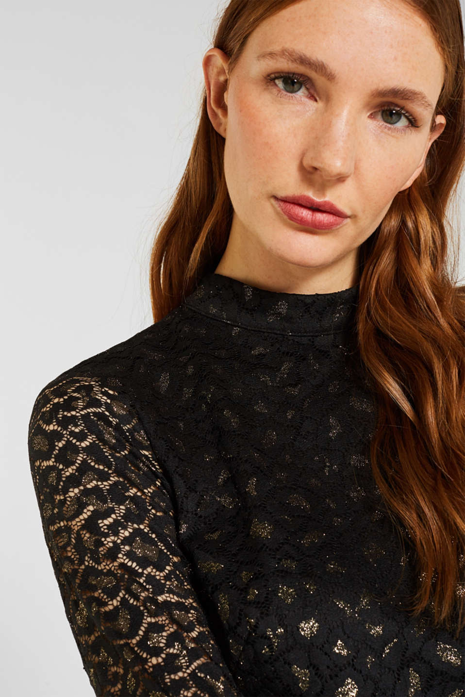 Lace dress in a glittering leopard look, BLACK, detail image number 3