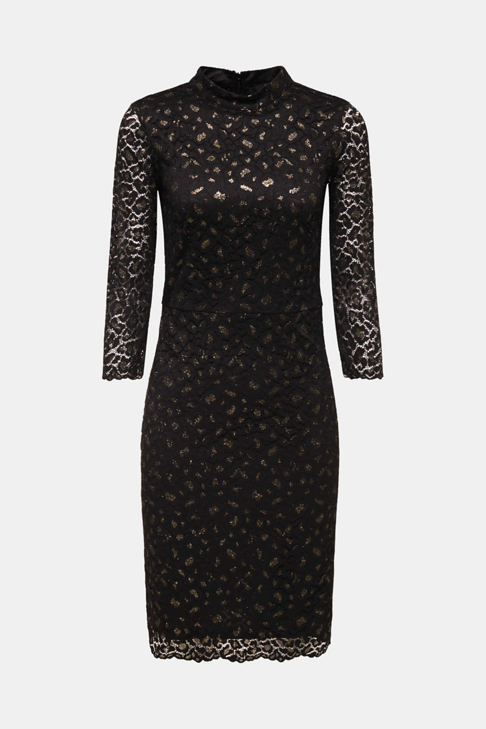 Lace dress in a glittering leopard look, BLACK, detail image number 5