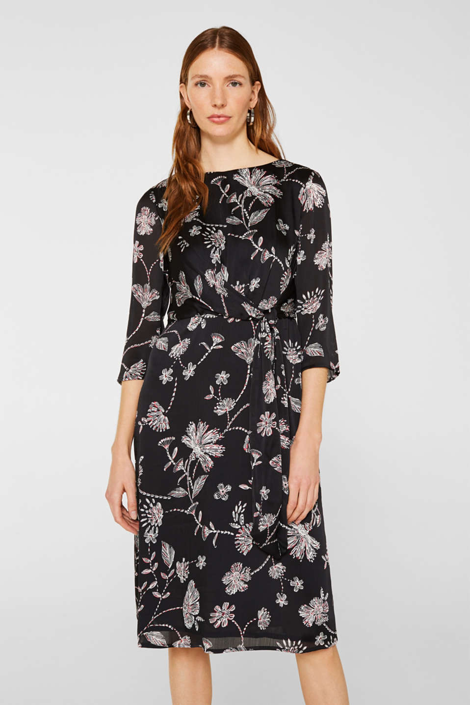 Midi dress with a wrap-over effect, BLACK, detail image number 0