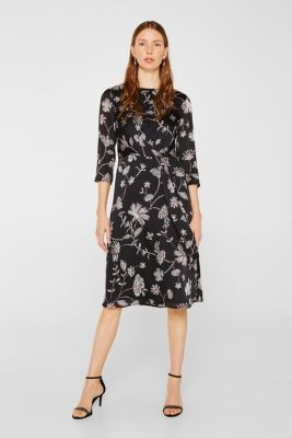 Midi dress with a wrap-over effect, BLACK, detail