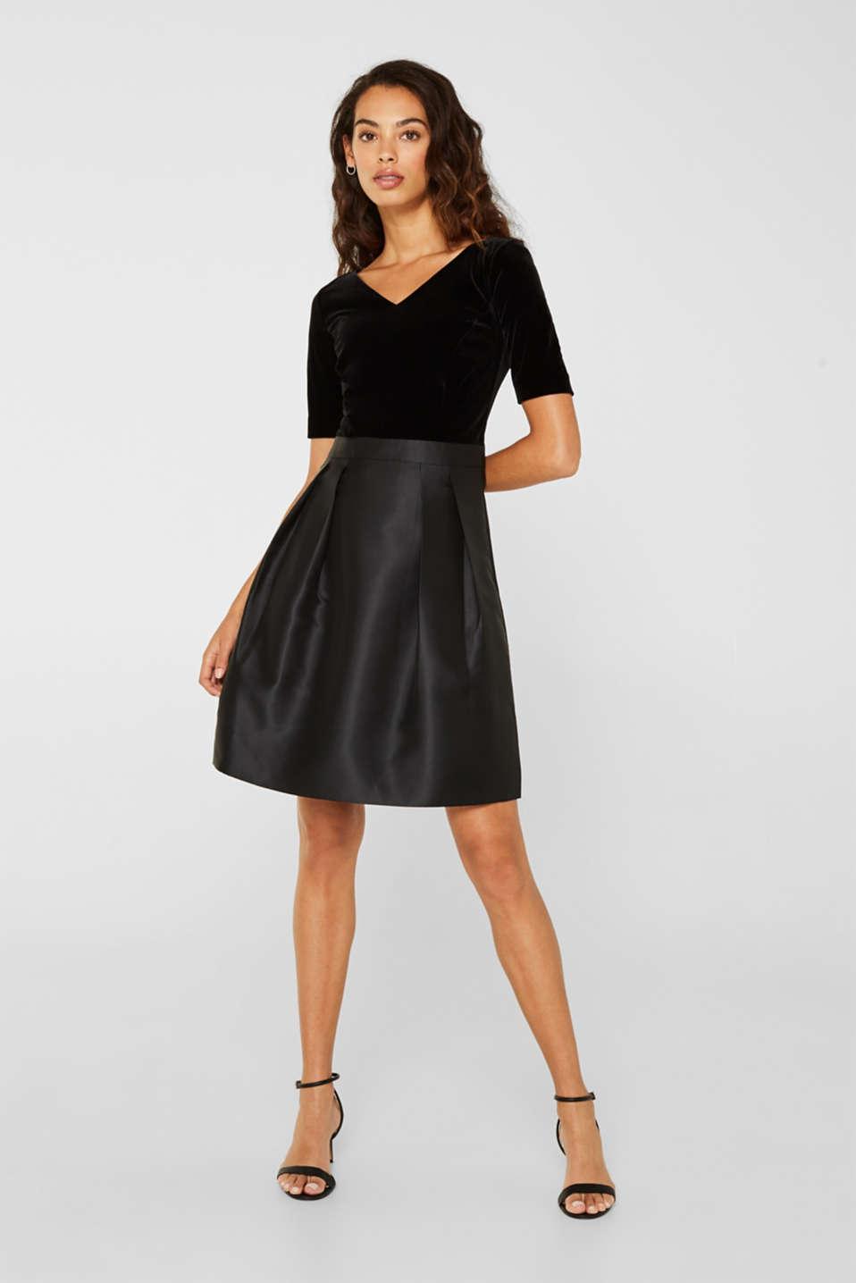 Dress made of velvet and satin, BLACK, detail image number 0