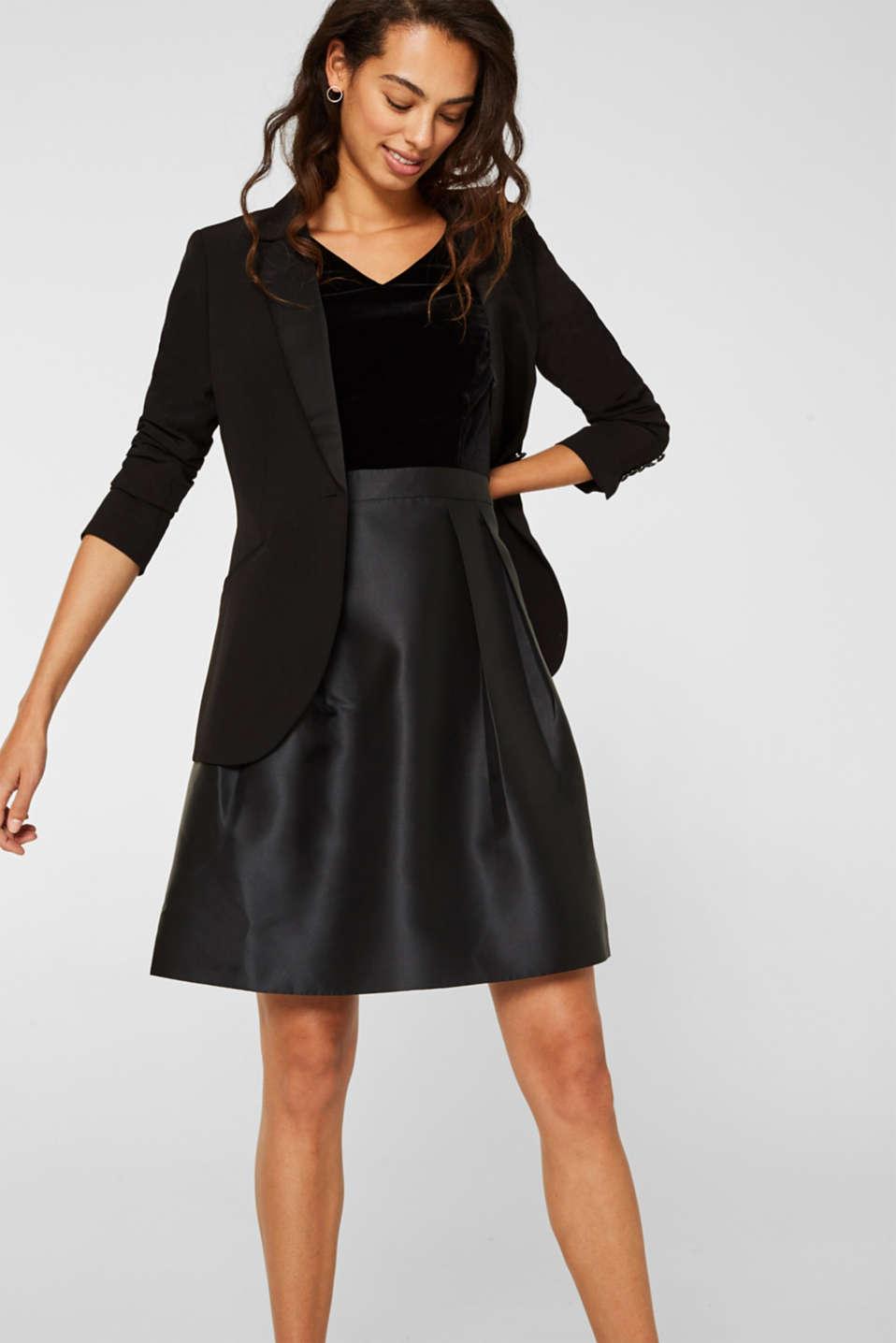 Dress made of velvet and satin, BLACK, detail image number 5
