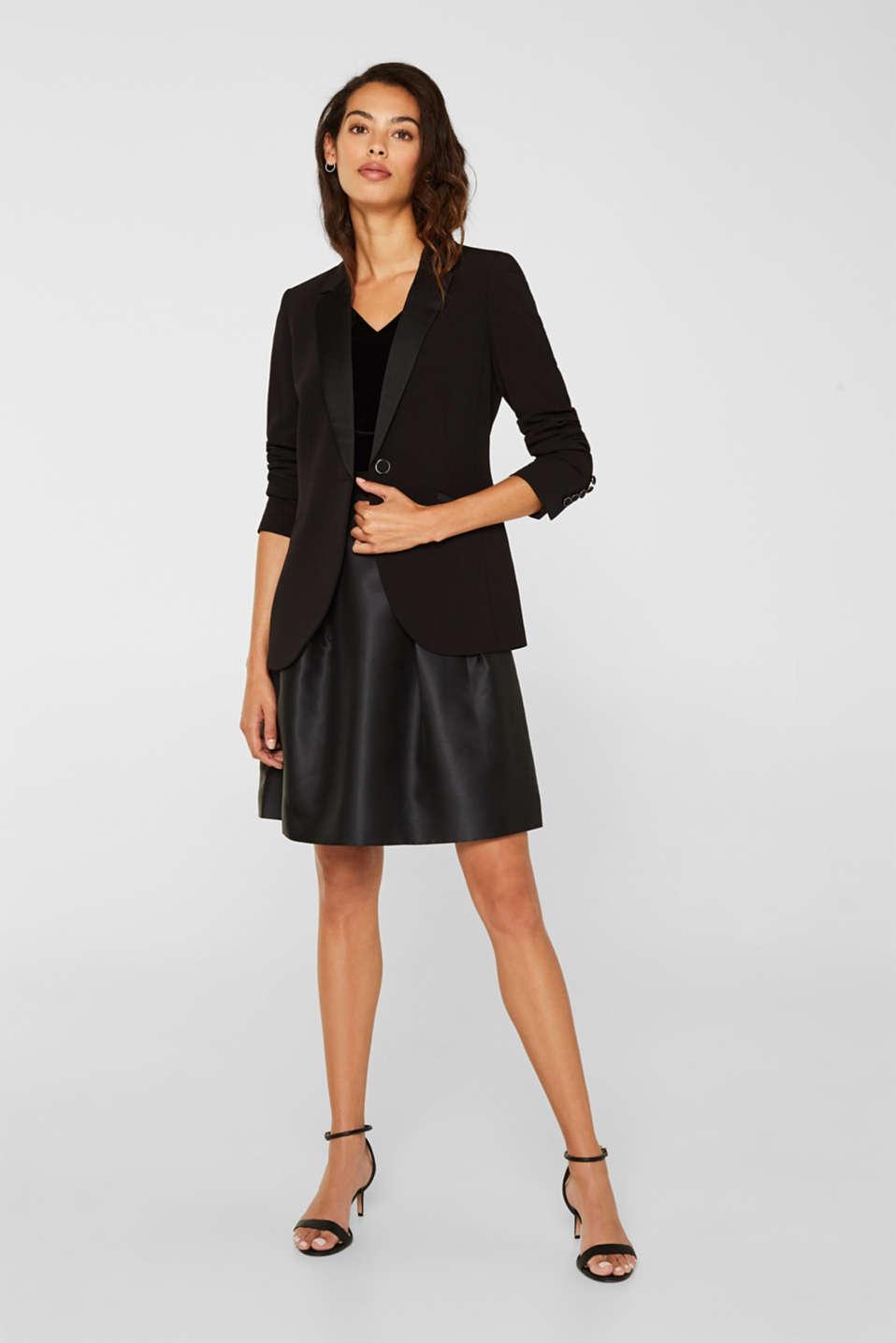 Dress made of velvet and satin, BLACK, detail image number 1
